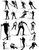 Duży zestaw sylwetki sportowych narciarskich | Stock Vector Graphics