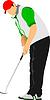 Golfer schlägt Ball mit Eisenschläger