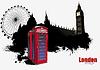 Londoner Grunge-Poster mit roter Telefonzelle