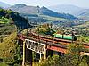 철도 다리에 기차 | Stock Foto
