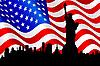 美国国旗和自由女神像 | 向量插图