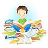 Knabe und Bücher