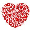 Красное сердечко-орнамент | Векторный клипарт