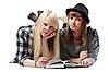 ID 3066359 | Zwei Mädchen liegt und liest das Buch | Foto mit hoher Auflösung | CLIPARTO