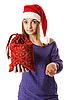 Piękna dziewczyna w czerwonym kapeluszu Santa | Stock Foto