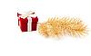 ID 3067128 | Rote Geschenk-Box mit Tannenzweigen | Foto mit hoher Auflösung | CLIPARTO