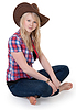 Beautiful girl in cowboy hat | Stock Foto