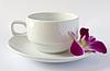 Пустая белая чашка с блюдцем и орхидеи | Фото