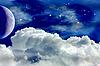 ID 3049916 | Księżyc, chmury i gwiazdy | Stockowa ilustracja wysokiej rozdzielczości | KLIPARTO