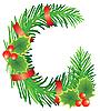 Christmas litera G z gałęzi jodłowych | Stock Vector Graphics