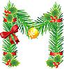 Weihnachtsbuchstabe M aus Tannenzweigen