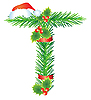 圣诞字母T杉枝 | 向量插图