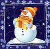 圣诞雪人卡 | 向量插图