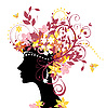 女人与花 | 向量插图
