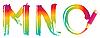彩虹字母MNO | 向量插图