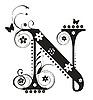 Dekoracyjne N list z kwiatów dla projektu | Stock Vector Graphics
