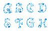 Alfabet Boże Narodzenie z płatki śniegu | Stock Vector Graphics