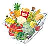 食品的购物车 | 向量插图