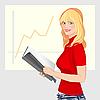Mädchen und statistisches Schaubild | Stock Vektrografik