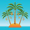 바다에있는 섬에 세 팜 나무 | Stock Vector Graphics