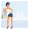 Mädchen beim Einkaufen | Stock Vektrografik