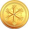 Золотая монета со снежинкой | Векторный клипарт