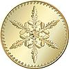 Moneda de oro con el copo de nieve | Ilustración vectorial
