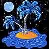 zwei Palmen auf einer Insel im Ozean in der Nacht