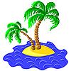 zwei Palmen auf einer Insel im Ozean