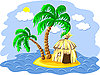 zwei Palmen und eine Hütte auf der Insel