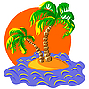 zwei Palmen auf einer Insel beim Sonnenuntergang