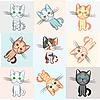 고양이 테마 배경 | Stock Vector Graphics