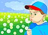 Mały chłopiec dmuchanie na mniszka lekarskiego na łące | Stock Vector Graphics