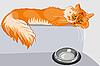 Czerwony pręgowany kot puszysty z żółtymi oczami | Stock Vector Graphics