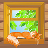 Red tabby cat lying on the windowsill | 向量插图