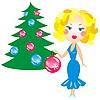 Элегантная блондинка в голубом платье возле елки | Векторный клипарт