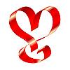 Блестящая красная лента в форме сердца | Векторный клипарт