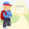 kleiner Junge geht zur Schule