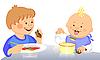 Słodkie dzieci jedzą | Stock Vector Graphics