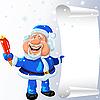 Santa Claus mit Stift und Schriftrolle in Händen