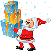 happy Santa Claus brings many gifts in the hands
