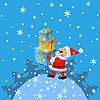 glücklicher Weihnachtsmann mit Geschenken