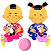 Chiński chłopiec i dziewczynka gry z panda zabawki | Stock Vector Graphics