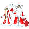 Деда Мороз и Снегурочка | Векторный клипарт