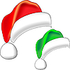 Красная и зеленая новогодние шапки | Векторный клипарт