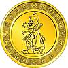 ID 3094787 | Goldmünze mit Gottheit und der Maya hieroglyth | Stock Vektorgrafik | CLIPARTO