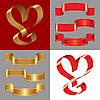 Набор блестящих золотых и красных ленточек | Векторный клипарт