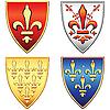 Französische Schilde mit heraldischen Lilien