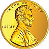 Amerykańska złota moneta jeden cent | Stock Vector Graphics