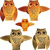 Set von dekorativen Eulenn | Stock Vektrografik